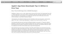 Téléchargements AppStore : 1,5 Milliard pour sa première année