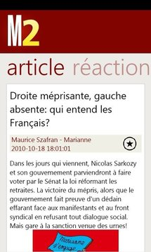 Marianne2.fr sur Windows Phone 7
