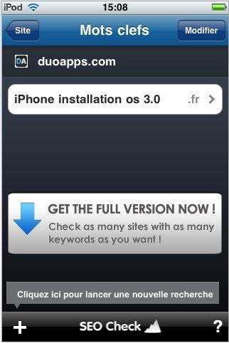SEO Check Lite est disponible sur l'AppStore (gratuite)