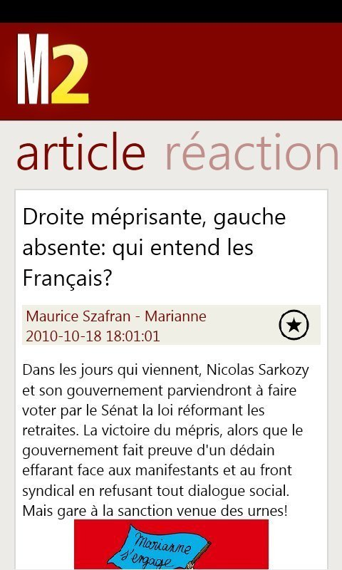 Marianne2.fr sur Windows Phone 7