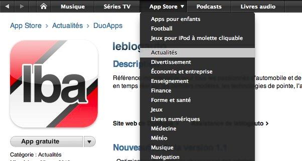 AppStore - DuoApps toujours plus dans le top de la catégorie Actualités avec LeBlogAuto